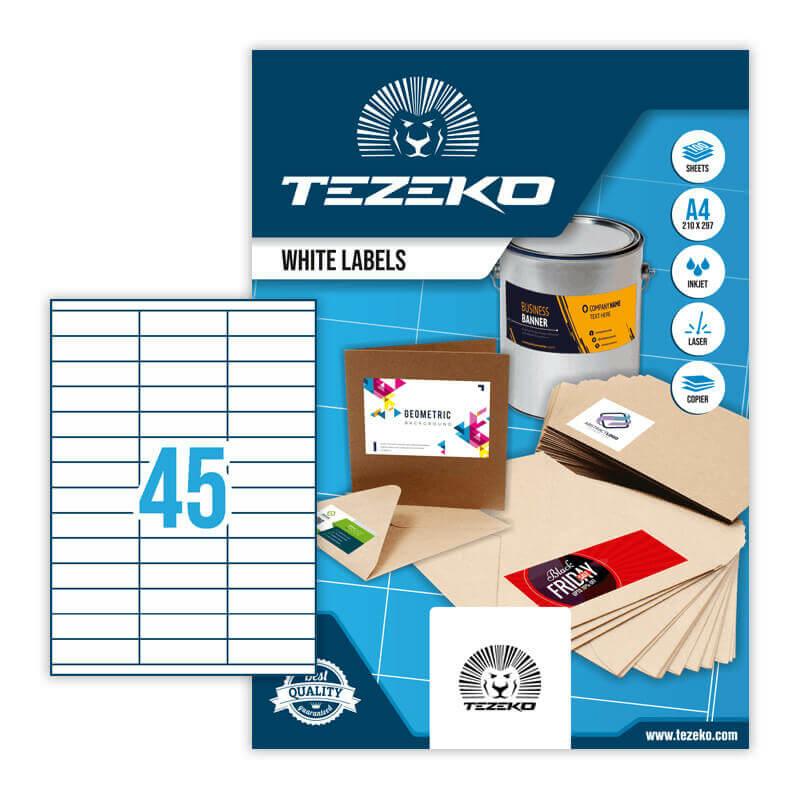 70*20 mm-es Tezeko A4 íves etikett címke, fehér színű (100 ív/doboz)