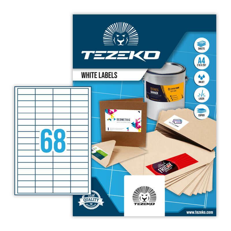 48,5*16,9 mm-es Tezeko A4 íves etikett címke, fehér színű (100 ív/doboz)