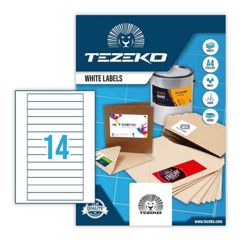 147*20 mm-es Tezeko A4 íves etikett címke, fehér színű (100 ív/doboz)