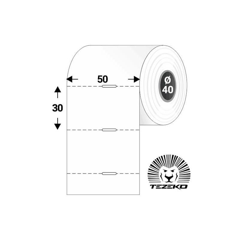 Polccímke 50 * 30 mm-es, perforált, termál, vezérlőlyukkal (1000 db/tekercs)
