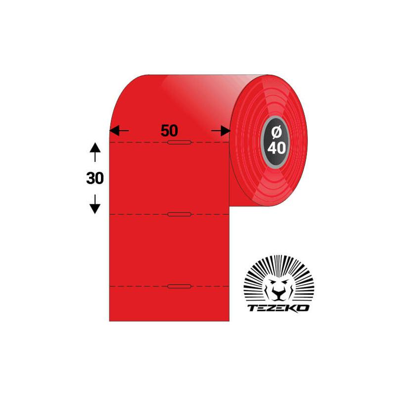 Polccímke 50 * 30 mm-es, perforált, termál, vezérlőlyukkal, piros színű (1000 db/tekercs)