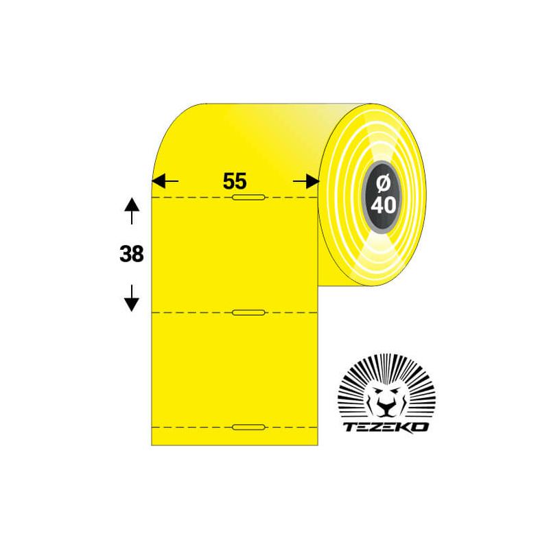 Polccímke 55 * 38 mm-es, perforált, termál, vezérlőlyukkal, sárga színű (1000 db/tekercs)