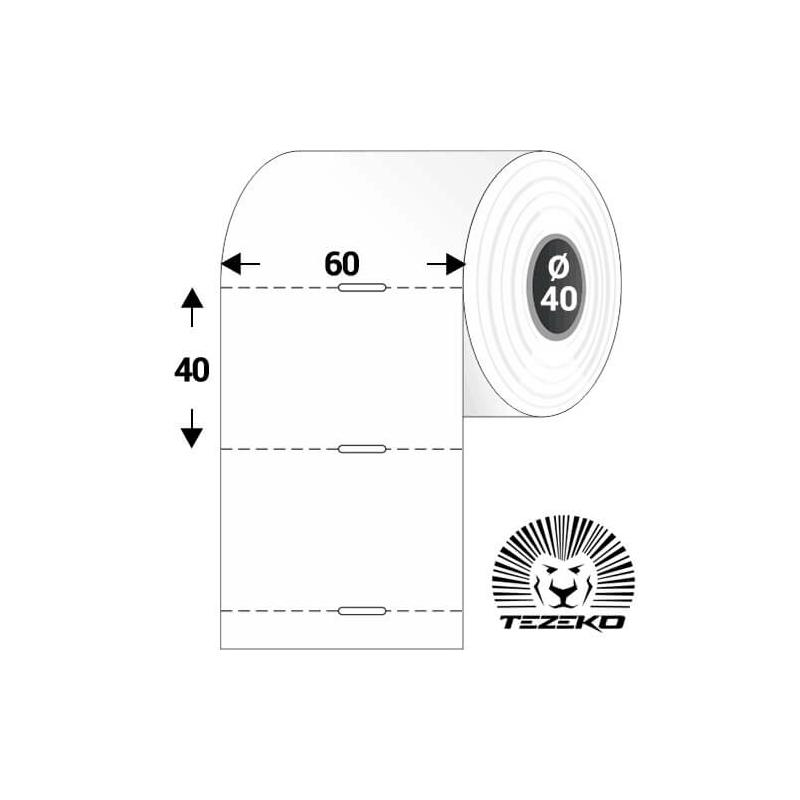 Polccímke 60 * 40 mm-es, perforált, termál, vezérlőlyukkal (1000 db/tekercs)