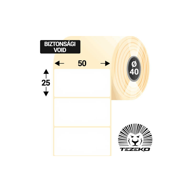 50 * 25 mm-es 1 pályás műanyag biztonsági etikett címke (2500 címke/tekercs, 40 mm-es belső mag)