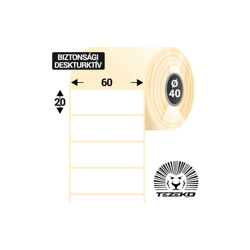 60 * 20 mm-es 1 pályás műanyag biztonsági etikett címke (2000 címke/tekercs, 40 mm-es belső mag)