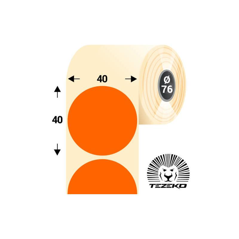 40 mm-es kör, papír címke, fluo narancs színű (5500 címke/tekercs)