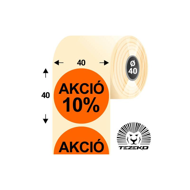 40 mm-es kör, papír címke, fluo narancs színű, Akció 10% felirattal (1000 címke/tekercs)