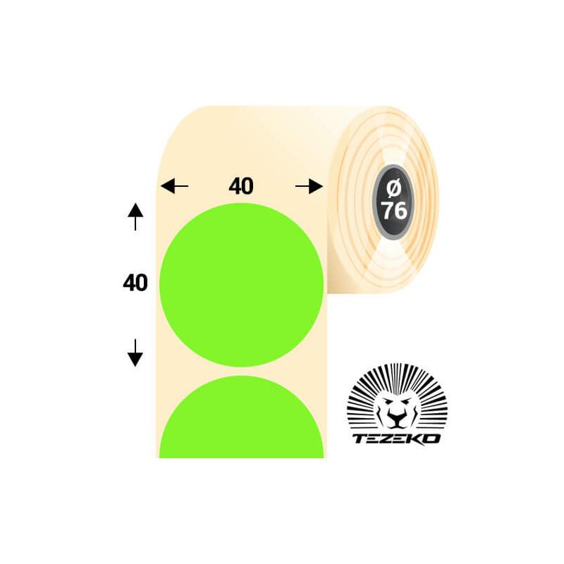 40 mm-es kör, papír címke, fluo zöld színű (5500 címke/tekercs)