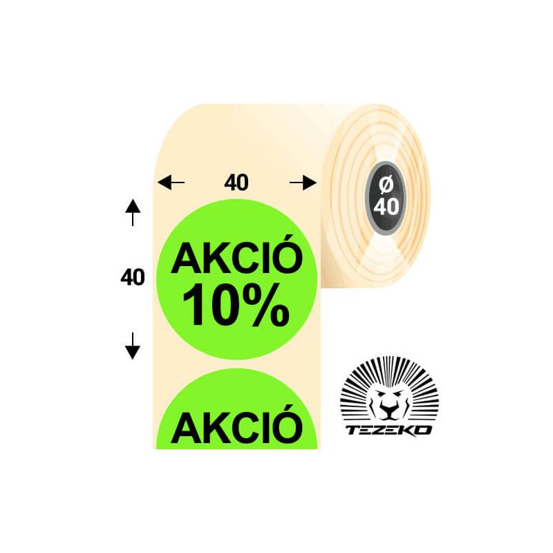 40 mm-es kör, papír címke, fluo zöld színű, Akció 10% felirattal (1000 címke/tekercs)