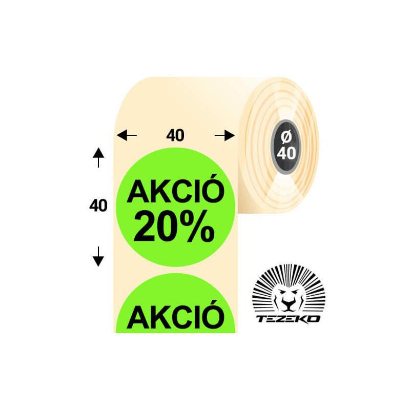 40 mm-es kör, papír címke, fluo zöld színű, Akció 20% felirattal (1000 címke/tekercs)