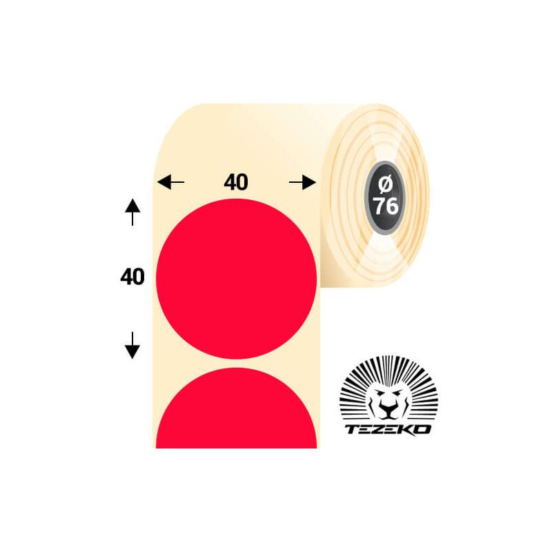 40 mm-es kör, papír címke, fluo piros színű (5500 címke/tekercs)