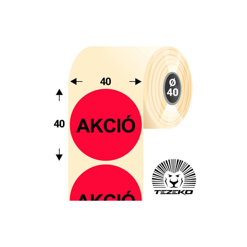 40 mm-es kör, papír címke, fluo piros színű, Akció felirattal (1000 címke/tekercs)