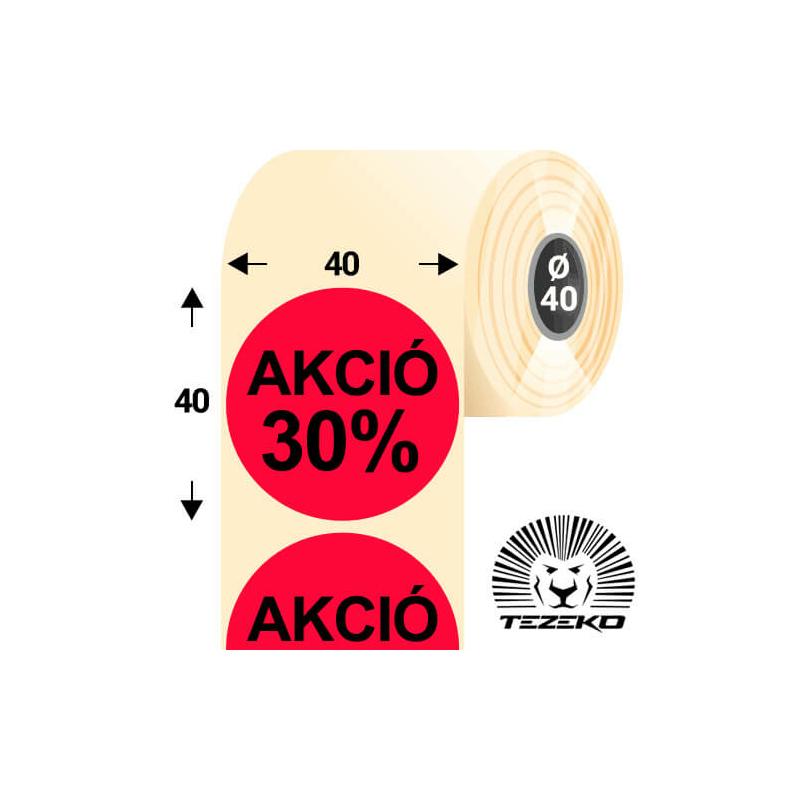 40 mm-es kör, papír címke, fluo piros színű, Akció 30% felirattal (1000 címke/tekercs)
