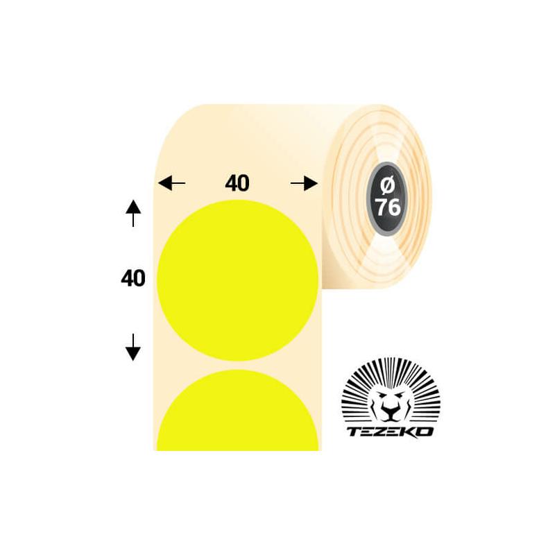 40 mm-es kör, papír címke, fluo sárga színű (5500 címke/tekercs)