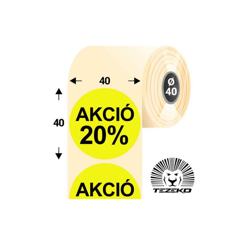 40 mm-es kör, papír címke, fluo sárga színű, Akció 20% felirattal (1000 címke/tekercs)