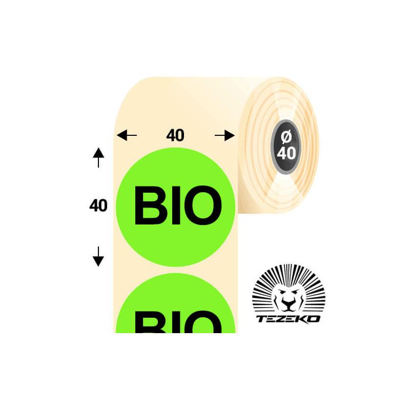 40 mm-es kör, papír címke, fluo zöld színű, Bio felirattal (1000 címke/tekercs)