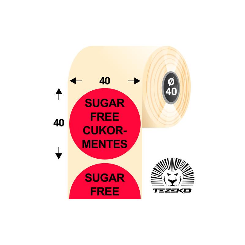 40 mm-es kör, papír címke, fluo piros színű, Cukormentes felirattal (1000 címke/tekercs)