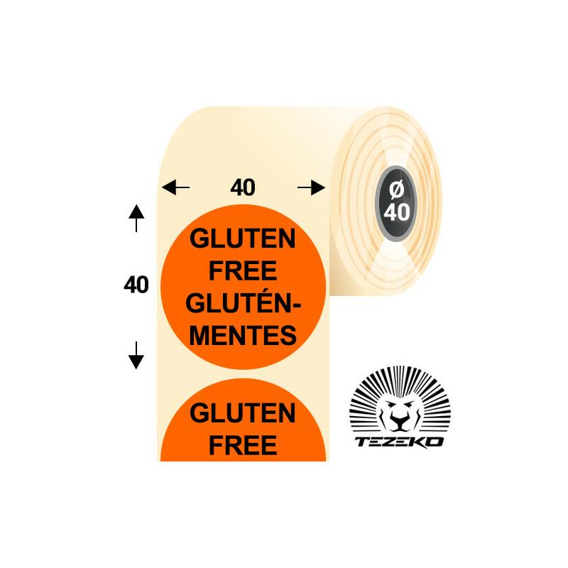 40 mm-es kör, papír címke, fluo narancs színű, Gluténmentes felirattal (1000 címke/tekercs)