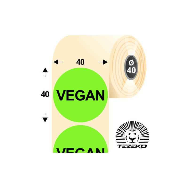 40 mm-es kör, papír címke, fluo zöld színű, Vegan felirattal (1000 címke/tekercs)