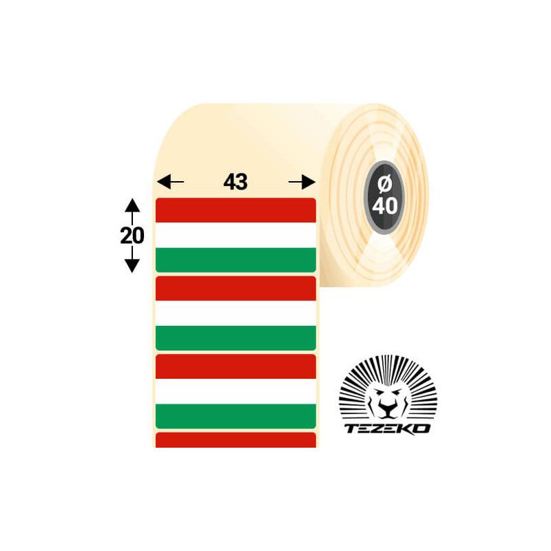Magyar Zászló etikett címke, 43 * 20 mm-es (1000 db/tekercs)