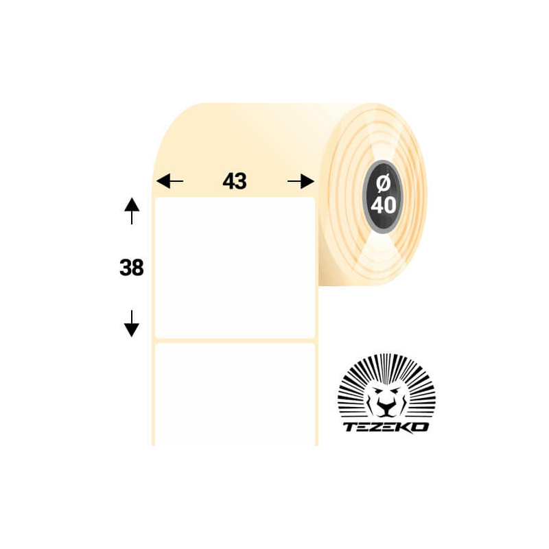 43 * 38 mm-es, 1 pályás visszaszedhető papír etikett címke (1500 címke/tekercs)