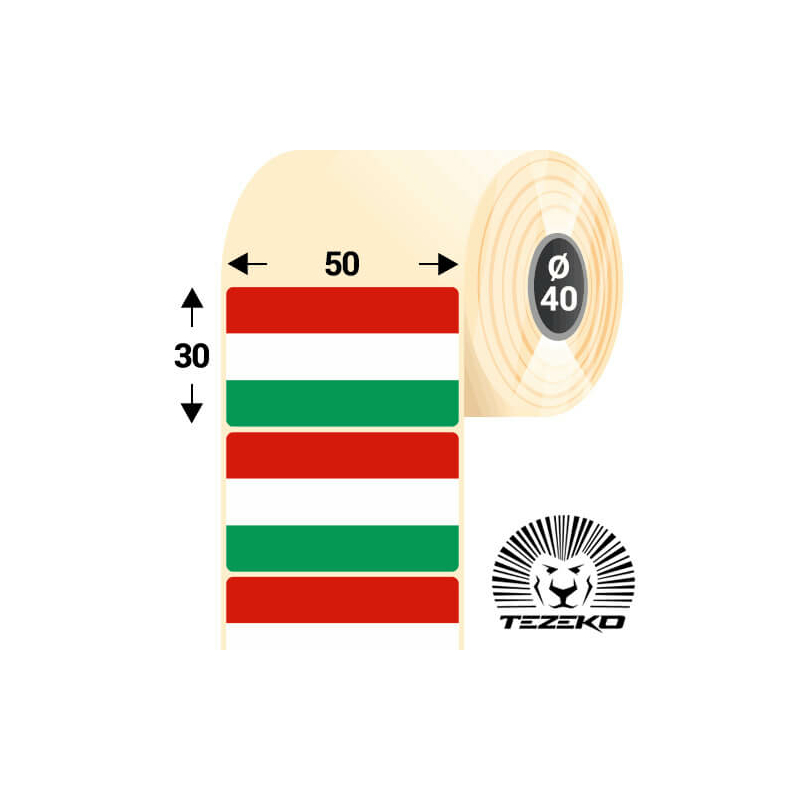 Magyar Zászló etikett címke, 50 * 30 mm-es (1000 db/tekercs)