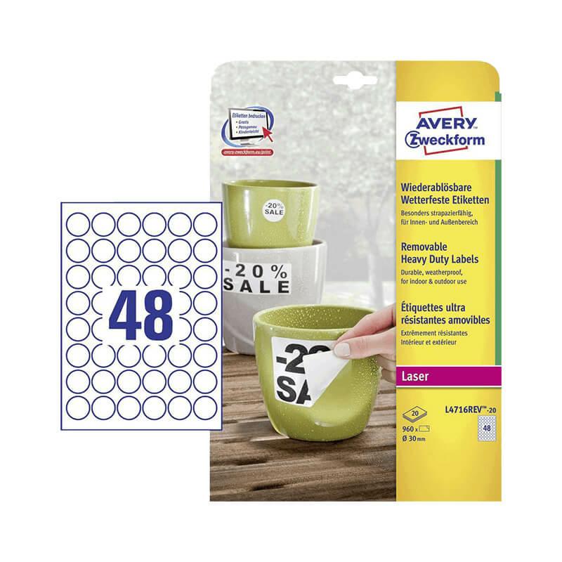 Avery Zweckform öntapadó íves etikett címke L4716REV-20