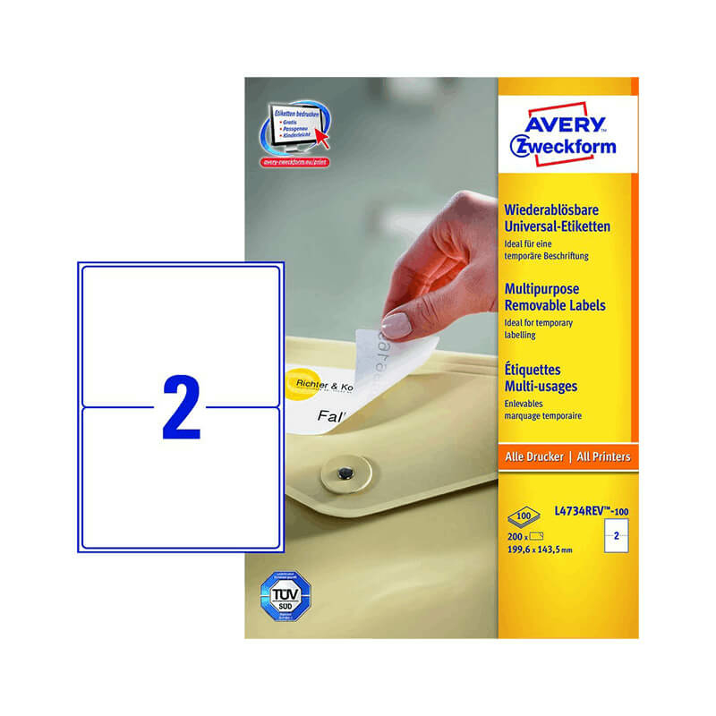 Avery Zweckform öntapadó íves etikett címke L4734REV-100