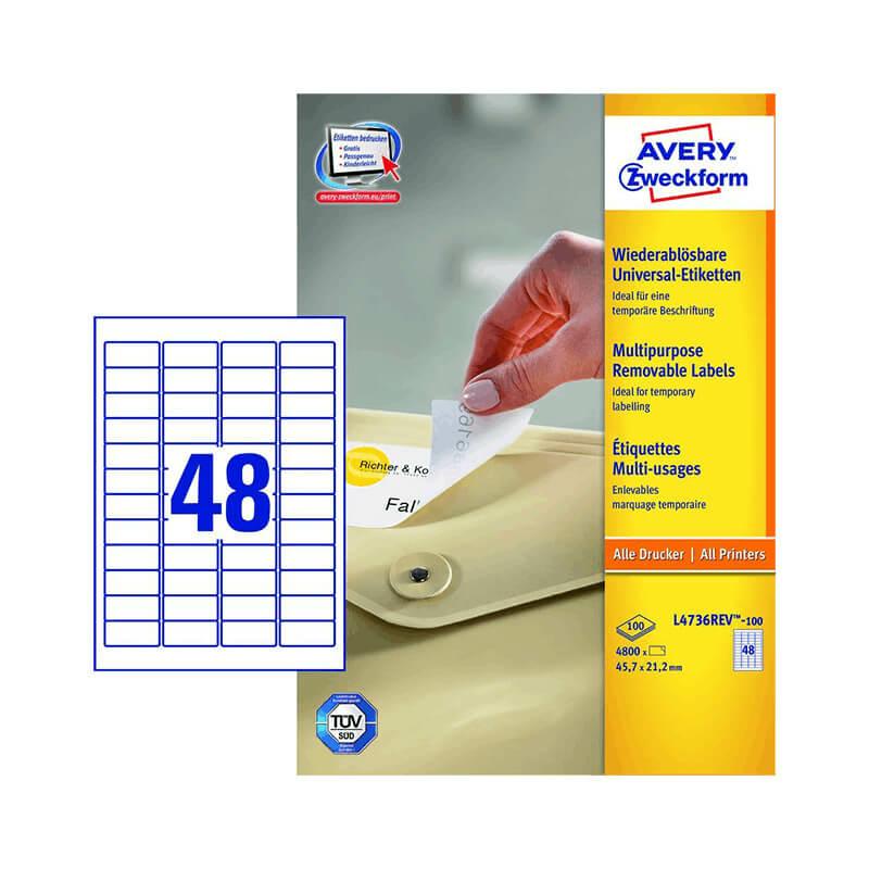 Avery Zweckform öntapadó íves etikett címke L4736REV-100