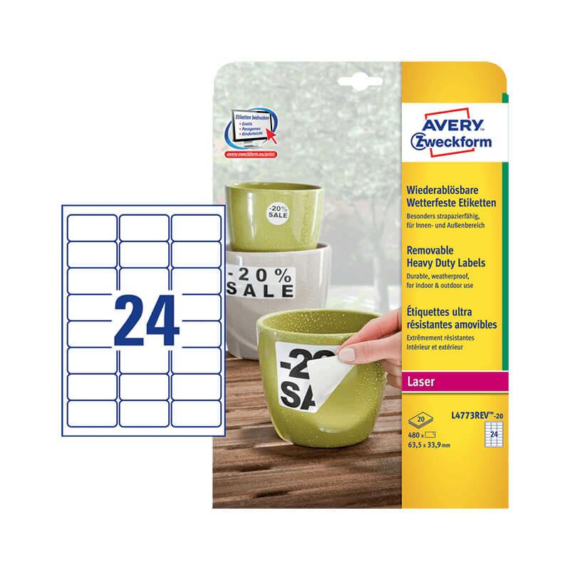 Avery Zweckform öntapadó íves etikett címke L4773REV-20
