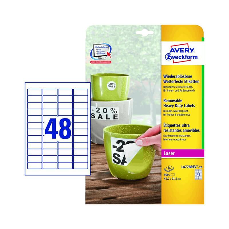 Avery Zweckform öntapadó íves etikett címke L4778REV-20