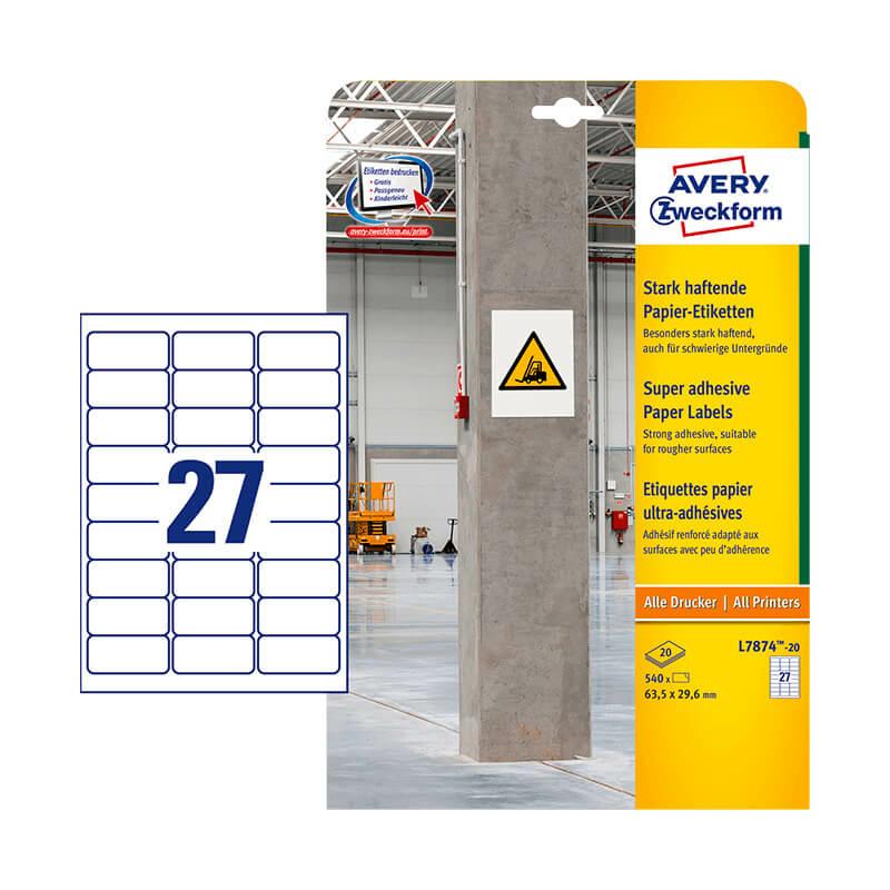 Avery Zweckform öntapadó íves etikett címke L7874-20
