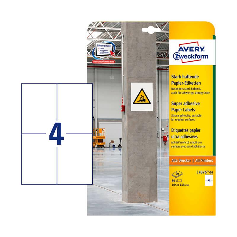 Avery Zweckform öntapadó íves etikett címke L7876-20